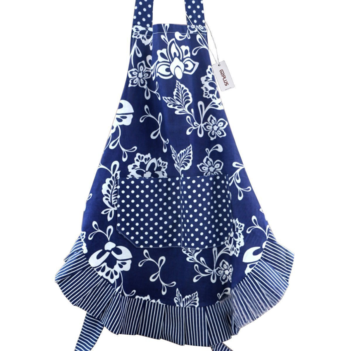 Floral Apron for Women with Pockets, Extra Long Ties, G2PLUS Vintage Apron, Perfect for Kitchen Cooking, Baking and Gardening, 29 x 21 – inch (Blue) 4