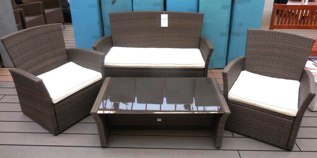 Sitzgruppe Lounge Rattanoptik wetterfest Garten Glastisch Möbel Garnitur