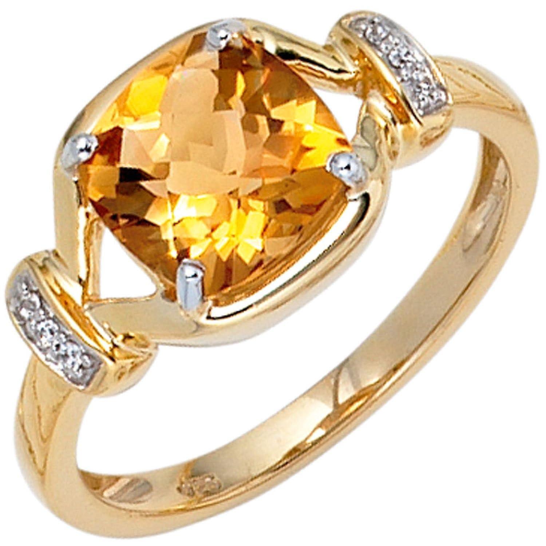Damen-Ring 333 Gelbgold 6 Zirkonia 1 Citrin als Weihnachtsgeschenk kaufen