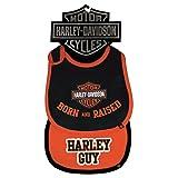 Harley-Davidson Baby Boys' Bibs, Bar & Shield 2 Pack, Black/Orange 7059507 (Color: Black & Orange, Tamaño: One Size)