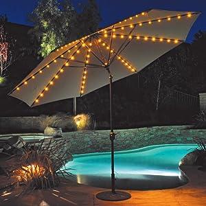 Galtech 11-ft. Auto Tilt Patio Umbrella with LED Umbrella Lights