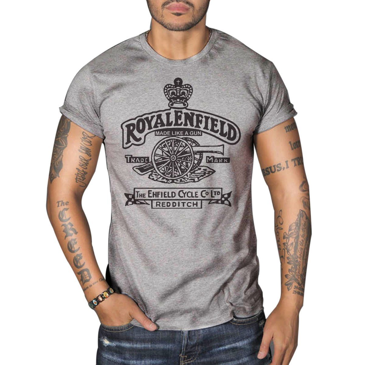 Royal Enfield Vintage Logo MOTORCYCLE BIKER Mens Top Dry Grey T-Shirt 0