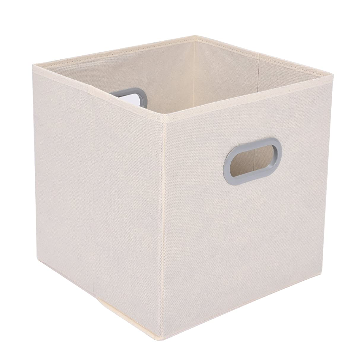 MaidMAX Cloth Storage Bins Cubes Baskets Containers with Dual Plastic Handles for Home Closet Bedroom Drawers Organizers, Flodable, Beige, Set of 6