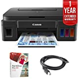 Canon PIXMA G3200 Wireless MegaTank All-In-One Inkjet Printer - Black (0630C002) + Corel Paint Shop Pro X9 Digital Download + High Speed 6ft USB Printer Cable + 1 Year Extended Warranty