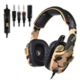 SADES SA930 Stereo Gaming Headset for PS4 New Xbox One Noise Cancelling Over Ear Headphone wit Mic Soft Memory Earmuffs for PC Mac Laptop Mobile Phone-Camouflage (Color: SA930 camouflage)