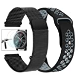 Gear S3 Watch Band, 22mm Milanese Loop Stainless Steel Band + Silicone Replacement Strap + 2 Pcs Tempered Glass Screen Protector Compatible Samsung Gear S3 Frontier/S3 Classic Smart Watch (Color: 1*Black Milanese Band+1*Sport Black-gray)