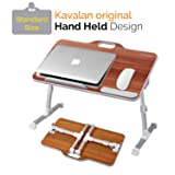 Kavalan Standard Size Portable Laptop Table with Handle, Height & Angle Adjustable Sit and Stand Desk, Bed & Breakfast Table Tray, Foldable Notebook Stand Holder for Sofa Couch - American Cherry (Color: American Cherry)