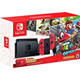 Nintendo - Switch 32GB Super Mario Odyssey Edition Bundle - Red Joy-Con (Color: Red)