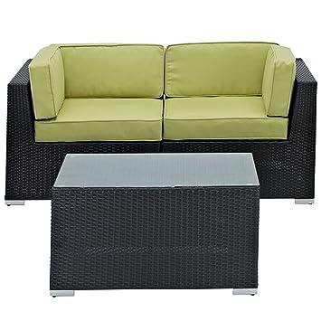 LexMod Camfora Outdoor Wicker Patio 3-Piece Espresso Sofa Set with Peridot Cushions