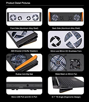 Advancing Gene Smart Laptop Cooler Cooling Pad for Alienware AW17R4 and AW17R5 (Color: For AW17R4 / AW17R5, Tamaño: 17.3)