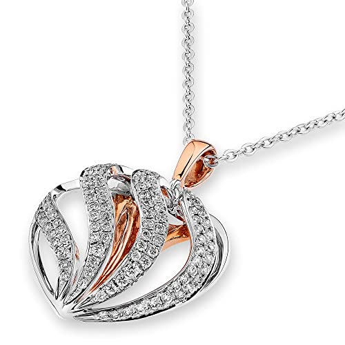 18K Rose & White Gold Heart Shape Diamond Pendant W/Silver Chain (0.51ct,G-H Color,SI1-SI2 Clarity)