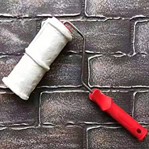 8 Inch Brick Embossing Roller for Wall Decoration, Imitation Brick Pattern Embossing Cylinder Painting Roller with Rubber Handle, Household DIY Paint Roller Art Brush (Color: white 1 pc)