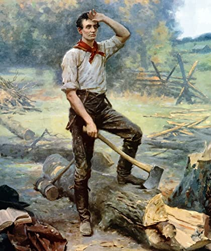 Abraham Lincoln The Rail Splitter chopping wood