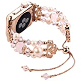 Tomazon Compatible Apple Watch Band 42mm 44mm, Crystal Pearl Adjustable iWatch Bracelet Replacement Women Wristbands Strap Compatible Apple Watch Series 4/3/2/1 Sport, Edition, Nike+ (Rose Gold) (Color: Rose Gold, Tamaño: 42mm / 44mm)