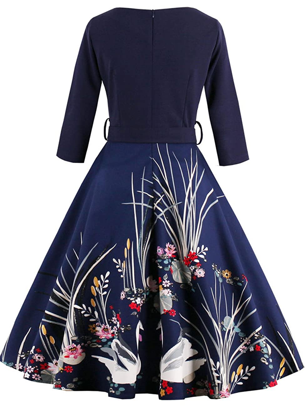 Babyonline Floral Vintage Women Dresses Half Sleeve 1950s Rockabilly Party Gown 5