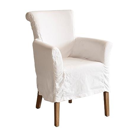 LOBERON Eleganter Sessel Amherst mit bequemer Schaumstoffpolsterung und Baumwollbezug, abnehmbare Husse, ca. 89/63/65 cm, weiß