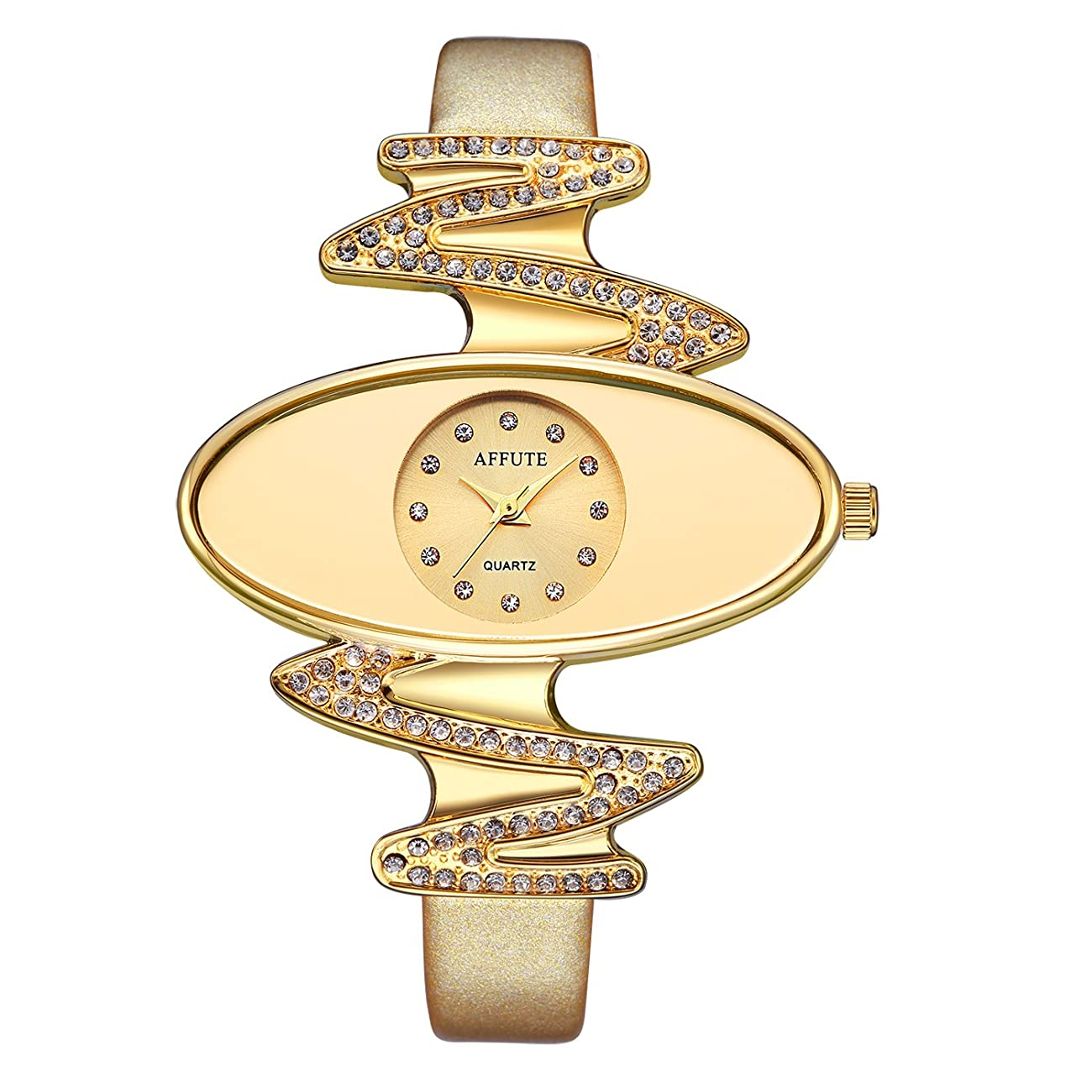 Retro Gold Leather Strap Brand Women Watch Strass Rhinestone Jewelry Quartz Wrist Watches 0