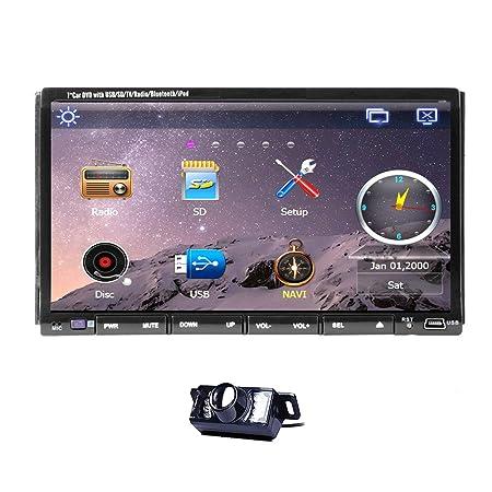 Caméra arrière inclus 2015 nouveau modèle 7 pouces - 2 Double DIN pour Tableau de bord de voiture pour lecteur DVD écran LCD tactile avec lecteur DVD/CD/MP3/MP4/USB/SD/RDS/AM/FM/mains libres Bluetooth stéréo/Audio