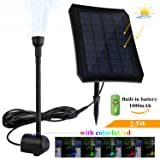 jerayley Solar Fountain 2.5W Solar Panel Kit 200L/H Submersible Water Pump Bird Bath Pond, Pool, Garden, Fish Tank, Aquarium, Solar Powered Outdoor Indoor Use (2.5W) (Tamaño: 2.5W)