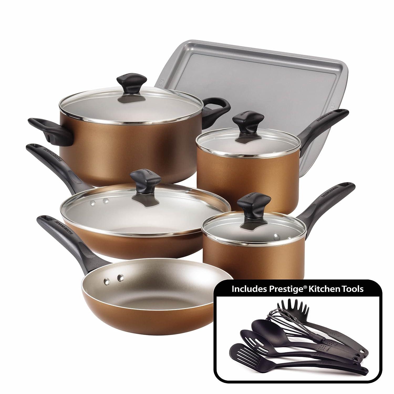 farberware dishwasher safe nonstick aluminum 15 piece cookware sets 7 colors ebay. Black Bedroom Furniture Sets. Home Design Ideas