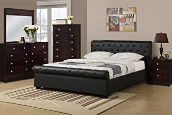 Queen Size Bed with Button Tufting by Poundex