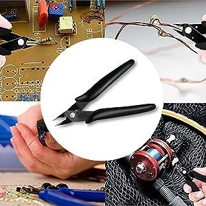BOENFU Wire Cutters, Flush Cutter 5 Inch, Zip Tie Cutter Wire Snips - Black