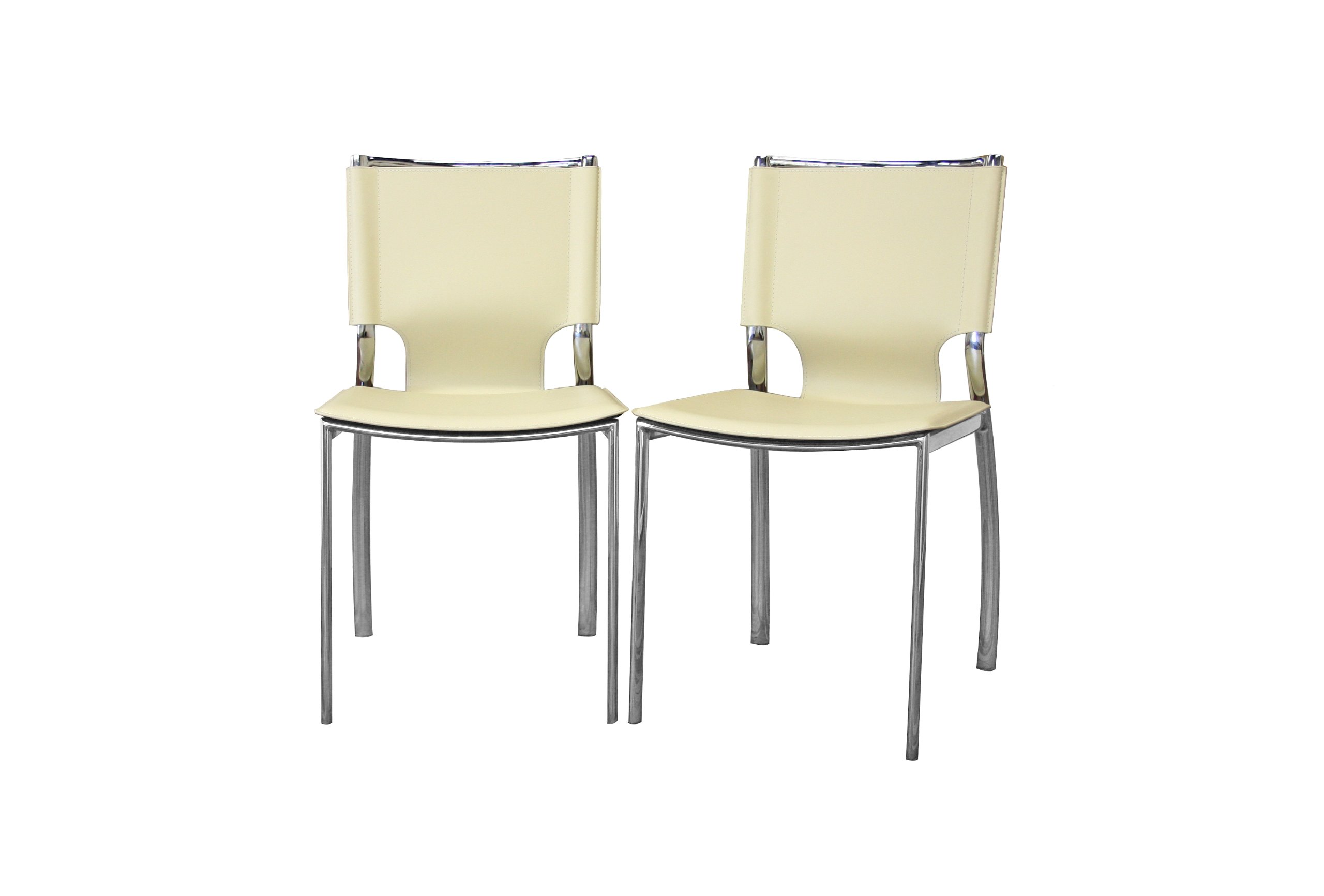 Baxton Studio Montclare Ivory Leather Modern Dining Chair Set of