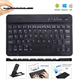 Ultra Slim Wireless Keyboard Ultrathin Wireless Bluetooth Keyboard 7 inch Bluetooth 3.0 Keyboard in Rechargeable Battery for iPad/Apple/Samsung/Acer/Asus/Lenovo/LG Tablet with Windows/Android/iOS (Color: Black)