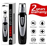 Ear and Nose Hair Trimmer Clipper - 2019 Professional Painless Eyebrow and Facial Hair Trimmer for Men and Women, Battery-Operated, IPX7 Waterproof Dual Edge Blades for Easy Cleansing(Black) (Color: Black)