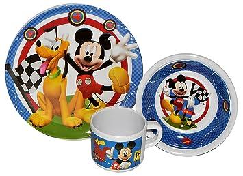 3 tlg geschirrset mickey mouse melamin henkeltasse teller m slischale kindergeschirr. Black Bedroom Furniture Sets. Home Design Ideas