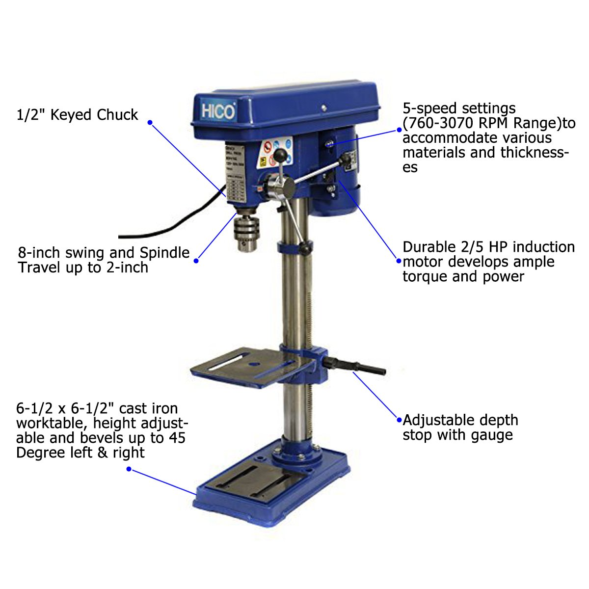 HICO-DP4113 8-Inch Bench Top Drill Press 5 Speed Rotary Tool Work Station with 6-1/2 x 6-1/2 inch cast iron worktable, height adjustable