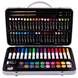 Mont Marte Studio Essentials Mixed Media Art Set 85 Piece. Includes Watercolour Paints, Oil Pastels, Markers, Pencils and More with a Portable Metal Case. Great for Drawing, Sketching and Painting. (Color: 85 Piece)