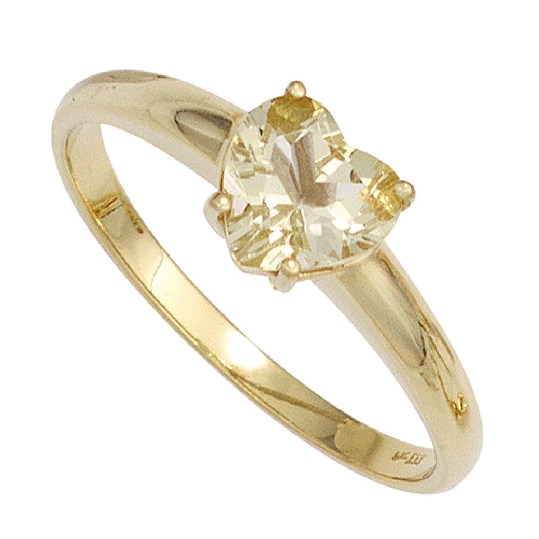 Damen Ring Herz 333 Gelbgold 1 Lemonquarz günstig online kaufen