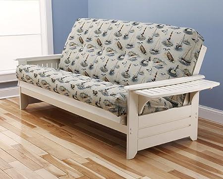 """Futon Philadelphia Futon Complete White Frame w/ Trays Premium 8"""" Innerspring Mattress Sofa Bed (Boat)"""