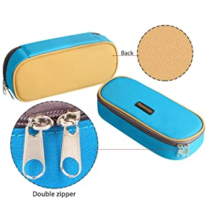 Homecube Pencil Case Big Capacity Pencil Bag Makeup Pen Pouch Durable Students Stationery With Double Zipper Pen Holder for School/Office, Blue