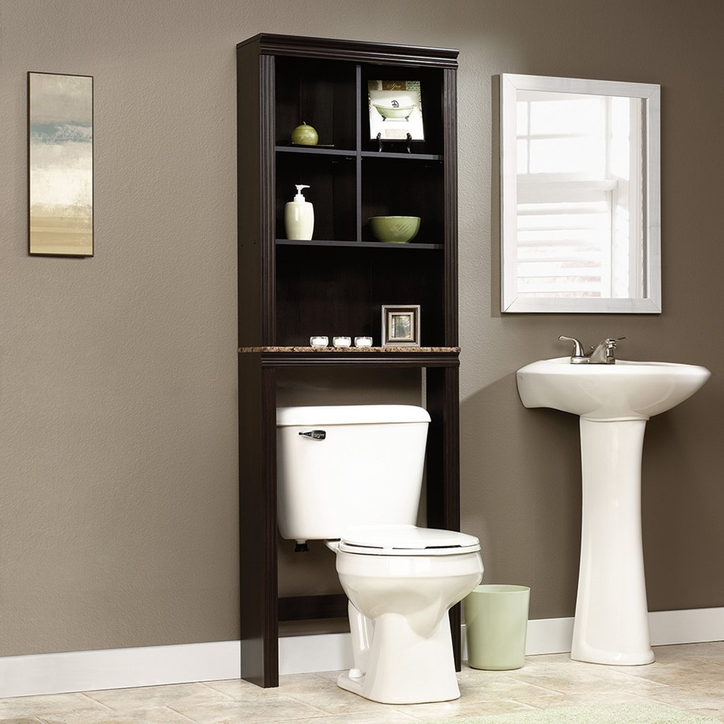 Sauder Peppercorn Etagere Bath Cabinet, Cinnamon Cherry Finish