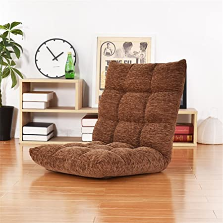 XXFFH® Sofá plegable de flanela Una persona, Sillas de suelo, Cama plegable, Silla de juego, ajuste de 6 ángulos , coffee