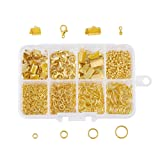 Pandahall 1 Box Jewelry Making Supplies Kits with Lobster Clasps/Ribbon Ends/Jump Rings/Drop End Pieces (Golden) (Color: Kit-4-Golden)