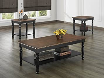 Ohana 3 Piece Coffee Table Set by Homelegance in 2 Tone Antique Black & Warm Cherry