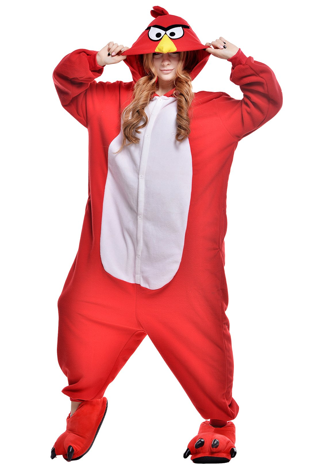 Adult Red Angry Bird Onesie Pajamas Kigurumi Halloween Cosplay Costume