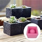 DIY Square Cement Flower Pot Silicone Mold Crafts Succulent Plants Concrete Planter Vase Molds for Home Decor (Color: black(random))
