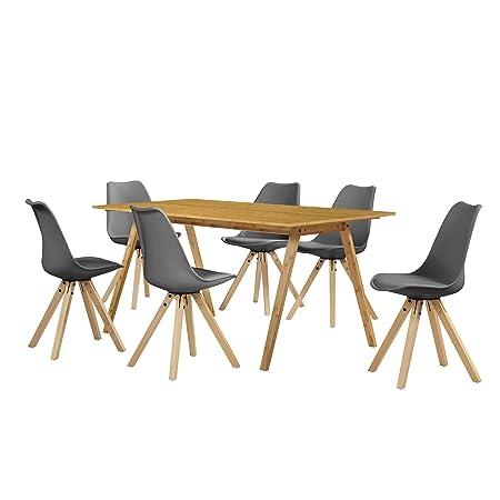 [en.casa] Esstisch Bambus mit 6 Stuhlen grau gepolstert 180x80cm Esszimmer Essgruppe Kuche
