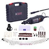 GOXAWEE Rotary Tool Kit with MultiPro Keyless Chuck and Flex Shaft - 140pcs Accessories Variable Speed Electric Drill Set for Crafting Projects and DIY Creations (Color: Black, Tamaño: Portable)