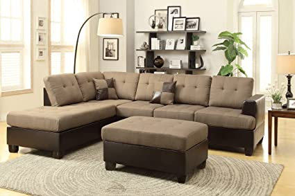 3pc Sectional Set Two Tone Upholstery (Tan/Dark Brown) by Poundex