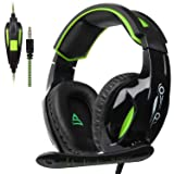 SUPSOO G813 Stereo Gaming Headsets for PS4, New Xbox One, Noise Cancelling Over Ear Headphones with Mic, Bass Surround,Soft Memory Earmuffs for Laptop PC Mac (Black&Green)