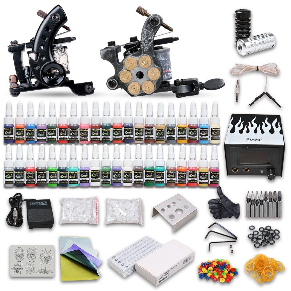 Dragonhawk complete tattoo kit 2 machine guns 40 color for Amazon tattoo machine