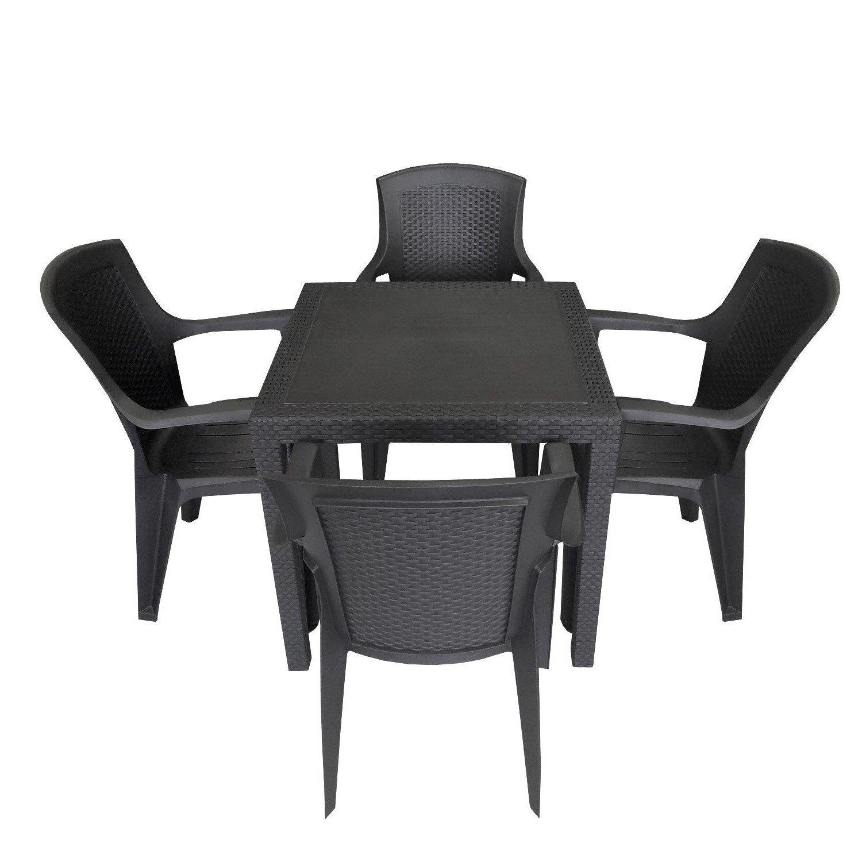 5tlg. Sitzgruppe Balkonmöbel Campingmöbel Set Sitzgarnitur 79x79cm Rattan-Look Vollkunststoff Stapelstuhl Schwarz