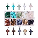 PH PandaHall 50pcs 10 Color Stone Cross Gemstone Pendants Charms Cross Quartz Healing Charms for Necklace Earring Bracelet Jewelry Making (Color: 10-color Cross - 50pcs)