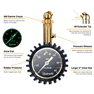 AstroAI Tire Pressure Gauge, 60 PSI Portable Heavy Duty Mechanical for Car Truck Motorcycle Bicycle with Glow Dial and Solid Brass Construction (Color: Black, Tamaño: Without Hose)