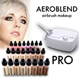 Aeroblend Airbrush Makeup PRO Starter Kit - Professional Cosmetic Airbrush Makeup System - 24 Color - Full 1-Year Warranty